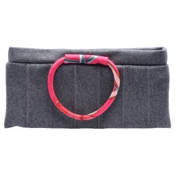 HERMES 環型絲巾提把毛呢手提/手拿包(灰)