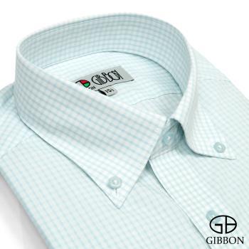 GIBBON 經典格紋長袖襯衫‧藍綠條格