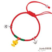Jcode真愛密碼 博士旺旺黃金/純銀中國繩手鍊-立體硬金款