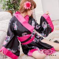 天使霓裳 日本異想國 ! 花卉v領和服 角色服(黑玫F) MA050