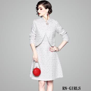 RN-girls--精品赫本風優雅短外套+A字背心裙兩件式套裝