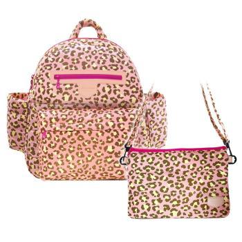 花花班尼 Hana Bene 極輕感中後背13格層防潑水空氣包-2件組-粉紅豹紋