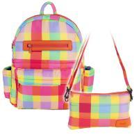 花花班尼 Hana Bene 極輕感大後背13格層防潑水空氣包-2件組-彩虹格紋