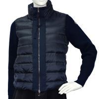 MONCLER 經典品牌LOGO立領拼接針織手袖羽絨夾克(藍)