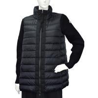 MONCLER 經典品牌LOGO立領拼接針織手袖長版羽絨夾克(黑)