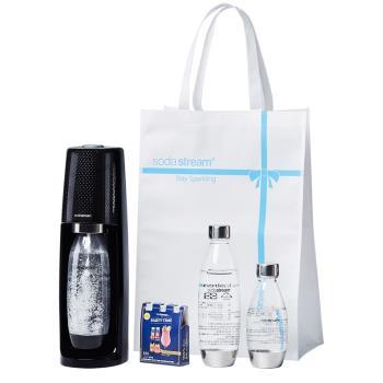 Sodastream Spirit氣泡水機(黑+500ML+1L金屬寶特瓶+專用禮物袋金屬搖滾限定組