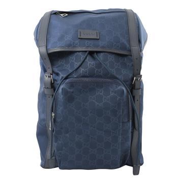 GUCCI 387071 Guccissima 尼龍束口翻蓋後背包.深藍