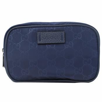 GUCCI 510341 經典雙G緹花緞面尼龍萬用包/小方包.深藍