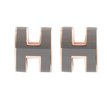 HERMES POPH 經典H LOGO橢圓銀飾耳環.玫瑰金/灰
