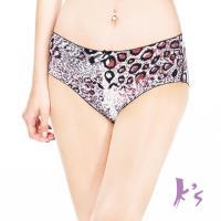 【Ks凱恩絲】冰絲柔滑豹紋有氧蠶絲褲底三角內褲