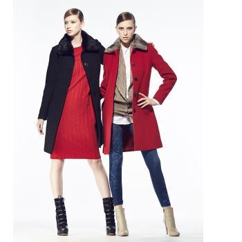 法國BC設計魚骨織紋羊毛大衣