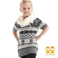 LOVEDO-艾唯多童裝 北歐圖騰 長板針織短袖毛衣(灰) J1101409