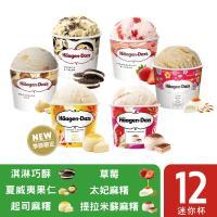 哈根達斯- 經典麻糬迷你杯12入組(輕乳酪麻糬/提拉米蘇麻糬/太妃麻糬/草莓/夏果/巧酥)