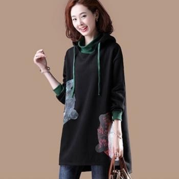 Amore 2018冬裝新款中長款高含棉加絨加厚大碼女裝印花連帽上衣