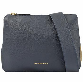 BURBERRY 4046848 House 格紋棉麻拼接斜背包.深藍小