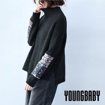 YOUNGBABY中大碼- 下開叉民俗風飾袖高領毛衣.共2色