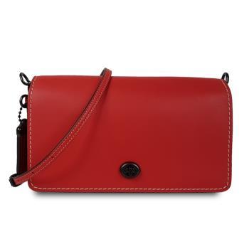 Coach 專櫃款Dinky系列百搭素面銅黑旋釦斜背方包-寶石紅