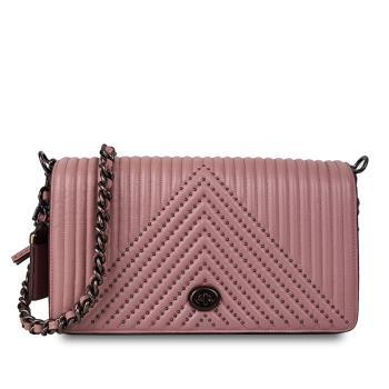 COACH 高端頂級真皮斜紋金屬鍊專櫃款斜背包(裸粉色)