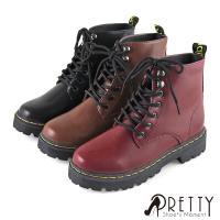 Pretty 經典簡約綁帶短筒馬汀靴BA-28556