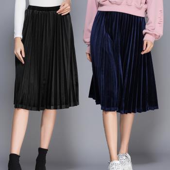 麗質達人 - 3217絲絨百摺裙二色