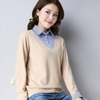 adora 2018韓版假兩件襯衫領針織衫