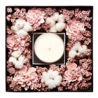 Hung design gift -進口淡粉紅色乾燥花桌上型禮盒(內含薰衣草精油蠟燭330g裝)(內含高級黑色大禮物袋)