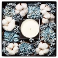 Hung design gift -進口水藍色乾燥花桌上型禮盒(內含薰衣草精油蠟燭330g裝)(內含高級黑色大禮物袋)
