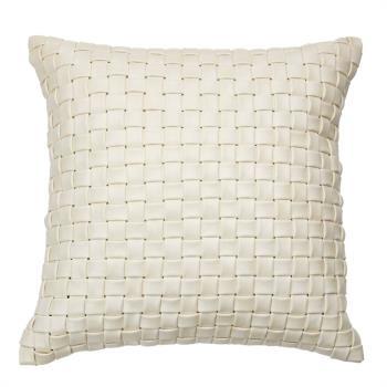 Hung design gift-米白手工編織皮革方形抱枕(非動物皮)