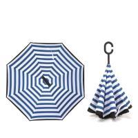 (生活良品)C型雙層海軍紋自動反向雨傘-條紋款深藍藏青色(雙色自動傘!大傘面 一按即開不淋濕)