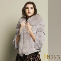 MONS北歐芬蘭百分百兔毛狐狸毛領外套