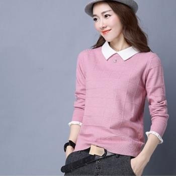 adora 韓版寬鬆秋冬粉色娃娃領套頭針織衫