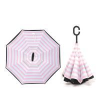 (生活良品)C型雙層海軍紋自動反向雨傘-條紋款粉紅色(雙色自動傘!大傘面 一按即開不淋濕)