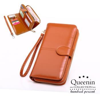 DF Queenin皮夾 - 熱銷皮質感多功能手機包長夾-共4色