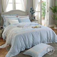 HOYA H Series維多利亞-粉藍 雙人四件式300織長纖細棉被套床包組