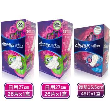 Always 液體衛生棉-美國限量版(幻彩)-日用加長27cm 香氣限定版(26片x2盒)+加長護墊15.5cm*48片/盒*1盒