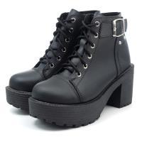 【 cher美鞋】MIT厚底粗跟個性鉚釘短靴-黑色 36-40碼-0761110992-03
