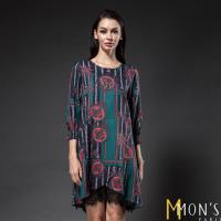 MONS高級歐洲印花蕾絲設計洋裝