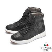 TRAVEL FOX(女)  輕雲系列 高筒超軟牛皮輕量時尚運動鞋 - 堅持黑