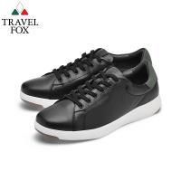TRAVEL FOX(男) 輕雲系列 超軟牛皮輕量舒適運動鞋 - 奔跑黑