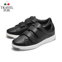 TRAVEL FOX(男) 輕雲系列 超軟牛皮雙側扣輕量舒適運動鞋 - 晶亮黑