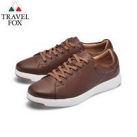 TRAVEL FOX(男) 輕雲系列 超軟牛皮輕量舒適運動鞋 - 大地咖