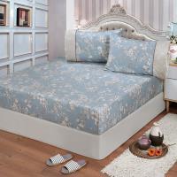 FITNESS 精梳棉特大床包+枕套三件組-莉蒂亞(藍)