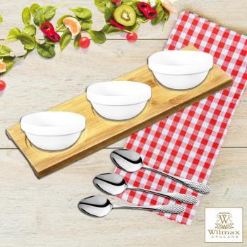 英國 WILMAX 多用途竹製杯墊/置物盤/點心盤附醬料碟茶匙組 (30 X 10 CM)