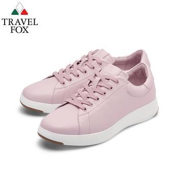TRAVEL FOX(女) 輕雲系列 超軟牛皮輕量舒適運動鞋 - 粉撲粉