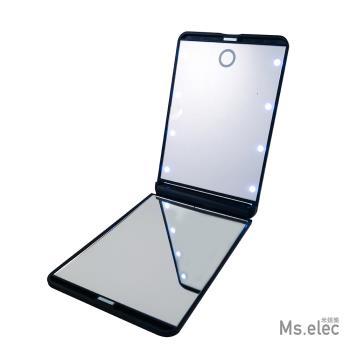 Ms.elec米嬉樂 - LED觸控口袋化妝鏡LM-002 (黑色.LED鏡.小鏡子.隨身鏡)