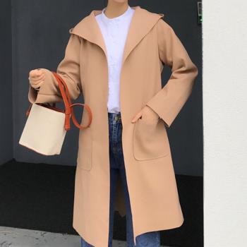 Abbie韓版時尚連帽毛呢長版外套
