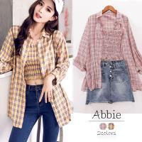 Abbie韓版時尚格子長版襯衫