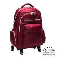 DF Queenin流行 - 大寬口可拆式360度滾輪休閒拉桿後背包-共3色