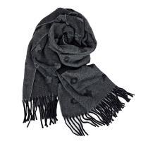 COACH 冬款超柔感雙口袋羊毛圍巾-灰色