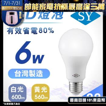【SY 聲億】6W 高效能廣角LED燈泡 白光(28入)